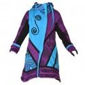 Veste capuche lutin fille violette et turquoise