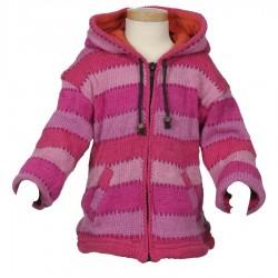 Veste capuche fée laine rose 3ans