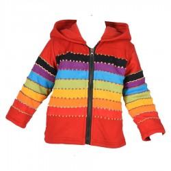 Veste doublée Rainbow capuche lutin rouge