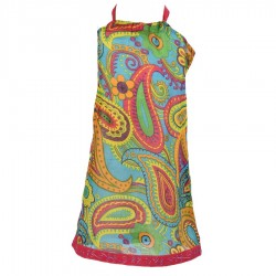 Robe indienne dos nu turquoise