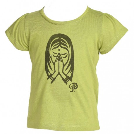 Tee-shirt fille Namaste vert anis