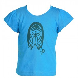 Tee-shirt fille indien turquoise