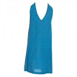 Vestido etnico tunica hippie escotada azul petroleo