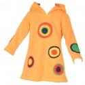 Robe hiver ethnique capuche pointue orange