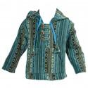 Sweat poncho Népal capuche pointue turquoise