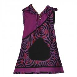 Tunique ethnique spirale violette et noire