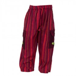 Pantalon Népal bébé rayé rouge