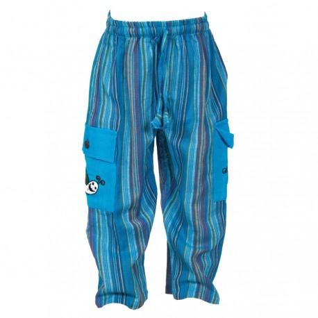 Pantalon Népal enfant rayé turquoise