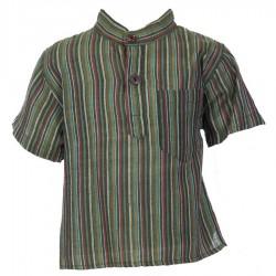 Baby short sleeves shirt maocollar kurta stripe army     6months
