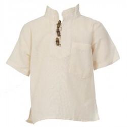 Camisa etnica mangas cortas cuelloMao unida blanca