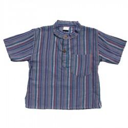 Camisa bebe kurta cuellomao rayada azul    18meses