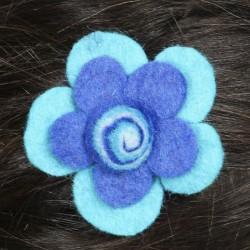 Prendedor pelo nina clip flor lana fieltro espiral azul