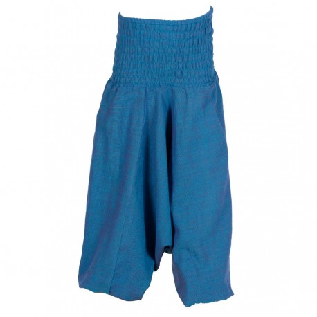 Sarouel népalais coton uni bleu