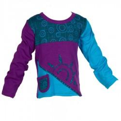 Tunique baba cool manches longues violette bleu pétrole et turquoise