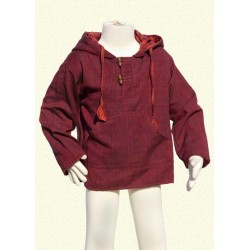 Poncho jumper hood jacket reversible darkred