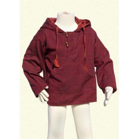 Poncho jumper hood jacket reversible darkred