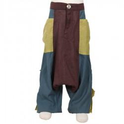 Pantalon afgano pantalones chico etnico castana petroleo limon