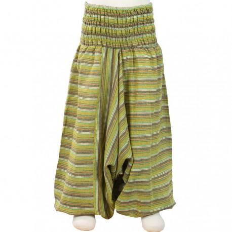 Pantalon afgano chica rayado verde limon    4anos