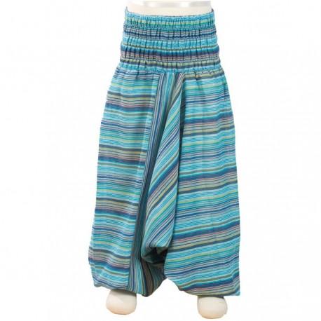 Pantalon afgano chica rayado turquesa    12anos