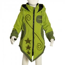 Girl ethnic coat sharp hood lemon green