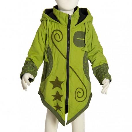 Manteau ethnique fille capuche pointue vert anis