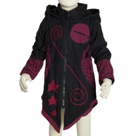 Ethnic coat girl sharp hood black