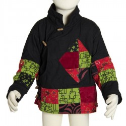 Veste tibetaine blouson ethnique enfant noir