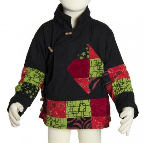 Tibetan jacket kid ethnic bomber black