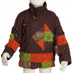 Tibetan jacket kid ethnic bomber brown