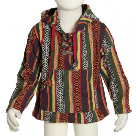 Boy hippy poncho jumper sharp hood brown