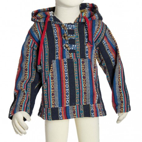 Sudadera poncho hippie chico capucha puntiaguda azul