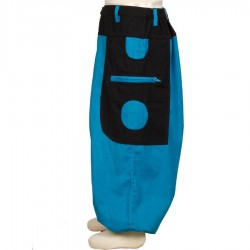 Kid Moroccan trousers cotton turquoise and black    12months