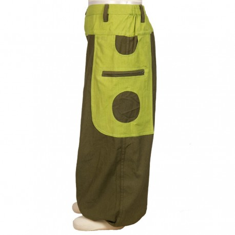 Kid Moroccan trousers cotton army and lemon    2years