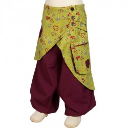 Girl afghan trousers lemon green and purple 3years