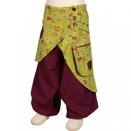 Girl afghan trousers skirt lemon green and purple 6years