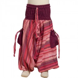 Girl Indian baggy trousers stripe violet