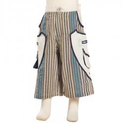 Pantalon corto rayado etnico beige
