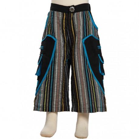 Pantalon corto rayado hippie negro