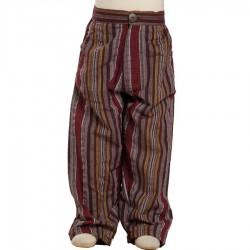 Pantalon algodon indio rayado rojo violaceo