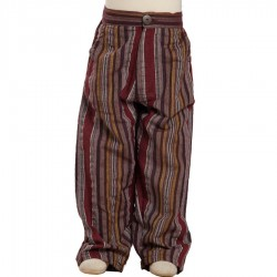 Pantalon coton indien rayé bordeaux