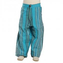 Pantalon indien rayé turquoise