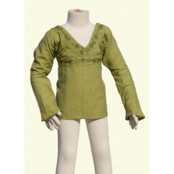 Embroidered tunic long sleeves collarV lemon green