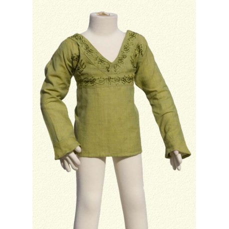 Tunique brodee manches longues colV vert anis
