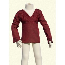 Embroidered tunic long sleeves collarV darkred