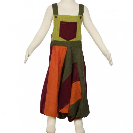 Afghan overall patchwork mixt orange