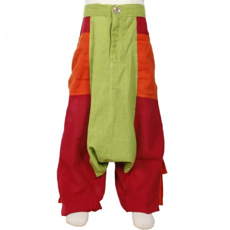 Sarouel pantalon garcon ethnique anis rouge orange