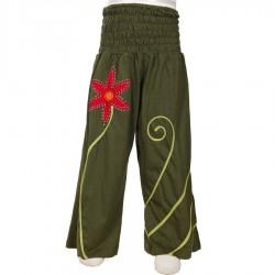 Pantalon chica etnico flor verde caqui