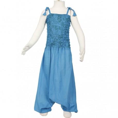 Robe sarouel fille ethnique turquoise petrole