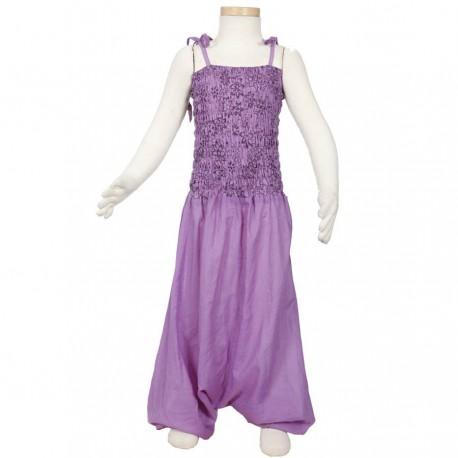 Robe sarouel fille ethnique mauve