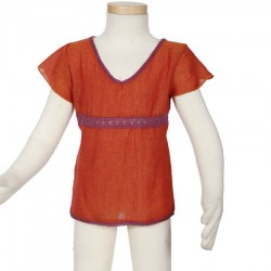 Ethnic girl tee shirt short sleeves orange